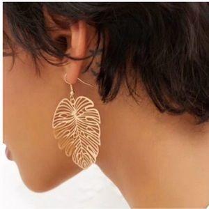 Gold Boho Leaf Earrings